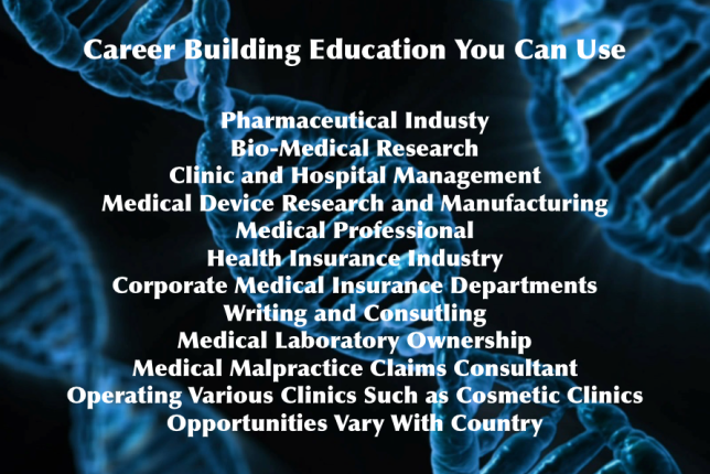 Career Building Education: Blue Marble University School of Medicine offers the only online MD degree that can be completed in three years, totally online. It is an exciting, unique program that trains the student in the medical arts and medical sciences for application in non-clinical careers. There are many uses for our MD degree in non-clinical careers. Examples of general fields of endeavor where an MD degree can be used for career advancement are: Pharmaceuticals Insurance Biotechnology Health Systems Risk Management Occupational Health Academia Medical Research Within these general fields, specific jobs are almost too numerous to mention, but some examples include: Participation in the clinical trials organization and monitoring Serving as Medical Officer for corporations Health Insurance compliance officer for corporations Wall Street analyst specializing in medically related companies Surgical medical devices representative Agricultural and Nutrition research Environmental sciences Criminal law: forensic scientist Medical devices representative Lobbyist for health care providers and health insurance companies Scientific writer and medical journal editor Public health policy boards